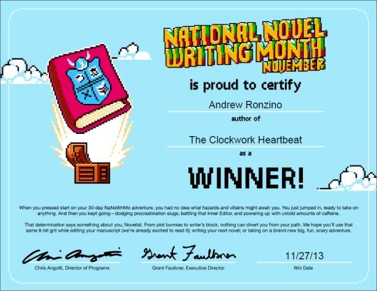 NaNoWriMo Winner's Certificate 2013