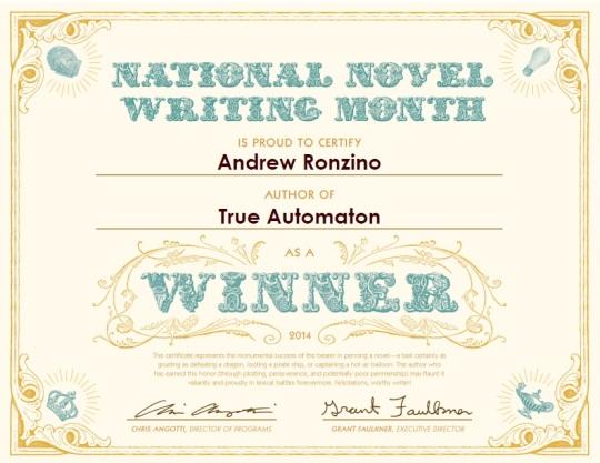 NaNoWriMo Winner's Certificate 2014
