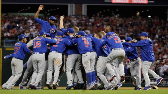 Chicago Cubs celebrate after Game 7 of the Major League Baseball World Series against the Cleveland Indians Thursday, Nov. 3, 2016, in Cleveland. The Cubs won 8-7 in 10 innings to win the series 4-3.(AP Photo/Matt Slocum)