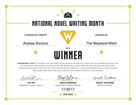 NaNoWriMo Winner's Certificate 2017