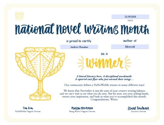 NaNoWriMo Winner's Certificate 2018
