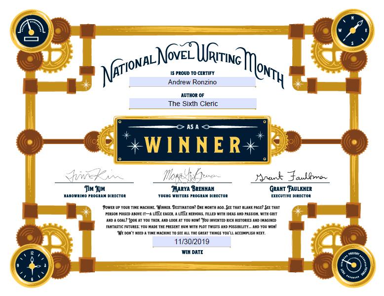 NaNoWriMo Winner's Certificate 2019